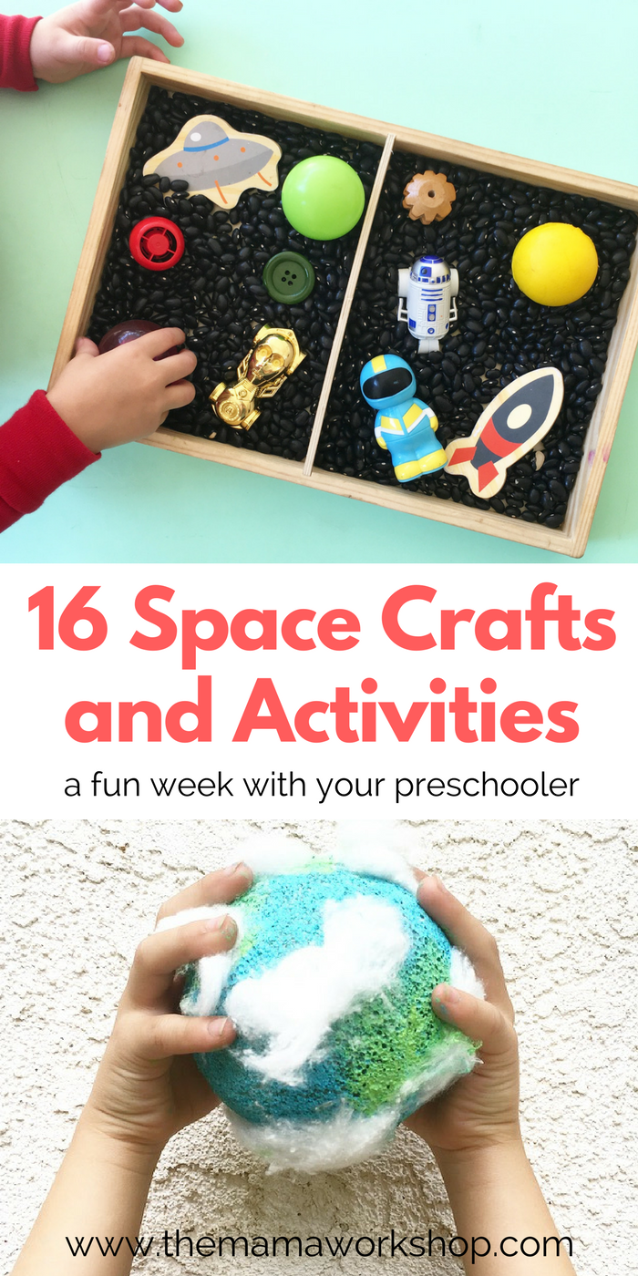 These 16 Space Activities were so fun to do with my son and daughter! It was a week full of books, crafts and activities!