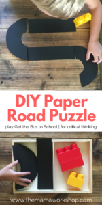 Make this DIY Road Puzzle in less than 2 minutes. Your preschooler can play Get the Bus to School.