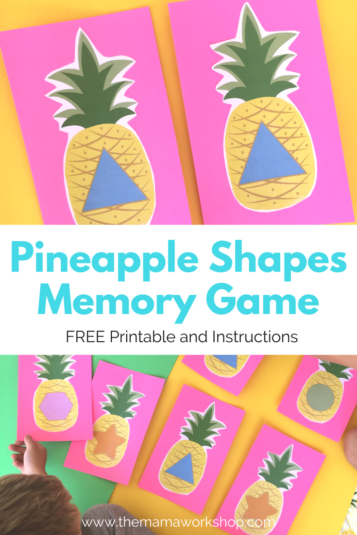 pineapple shapes memory game the mama workshop