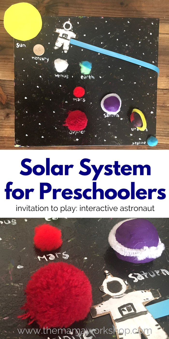 Make this Solar System for Preschoolers and have your preschooler take the astronaut on a planet adventure! All it takes is a few items you have laying around the house!