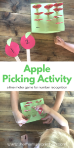 Make this Apple Picking Activity for your toddler to practice fine motor skills and number recognition. Such a fun fall activity!