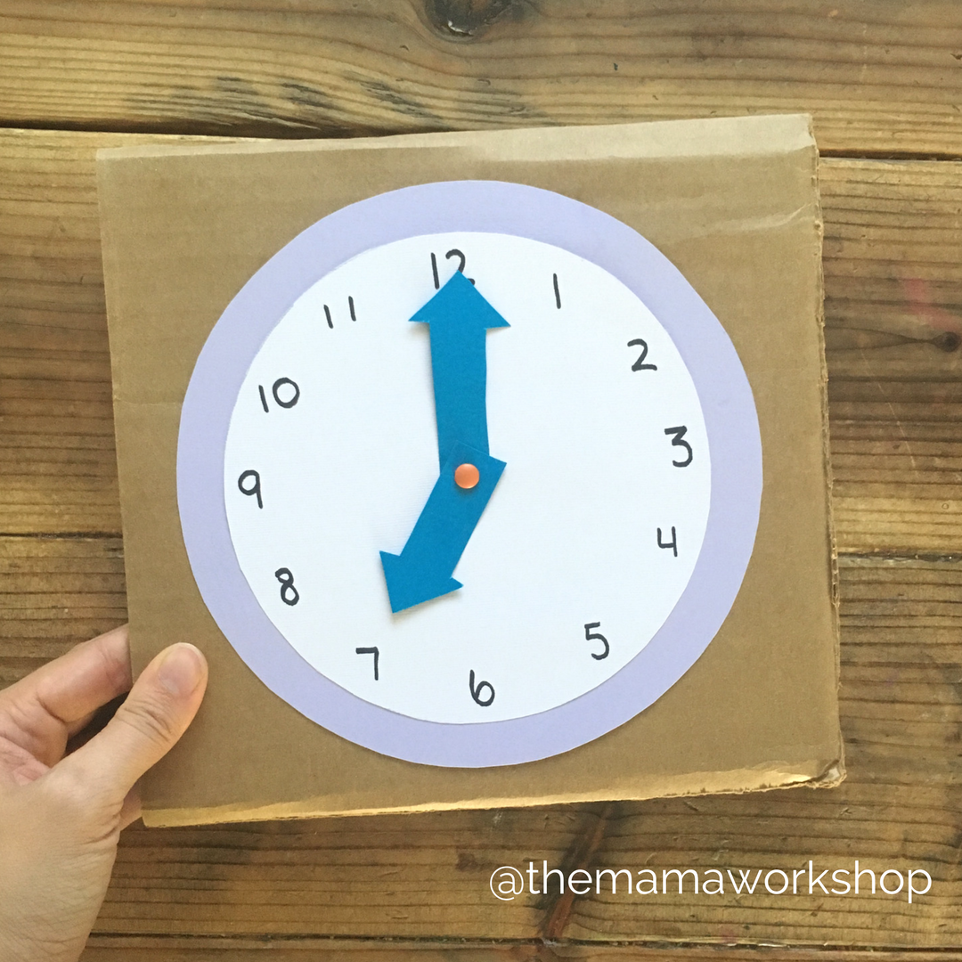 Clock craft for preschoolers the mama workshop for Clock mechanisms for craft projects