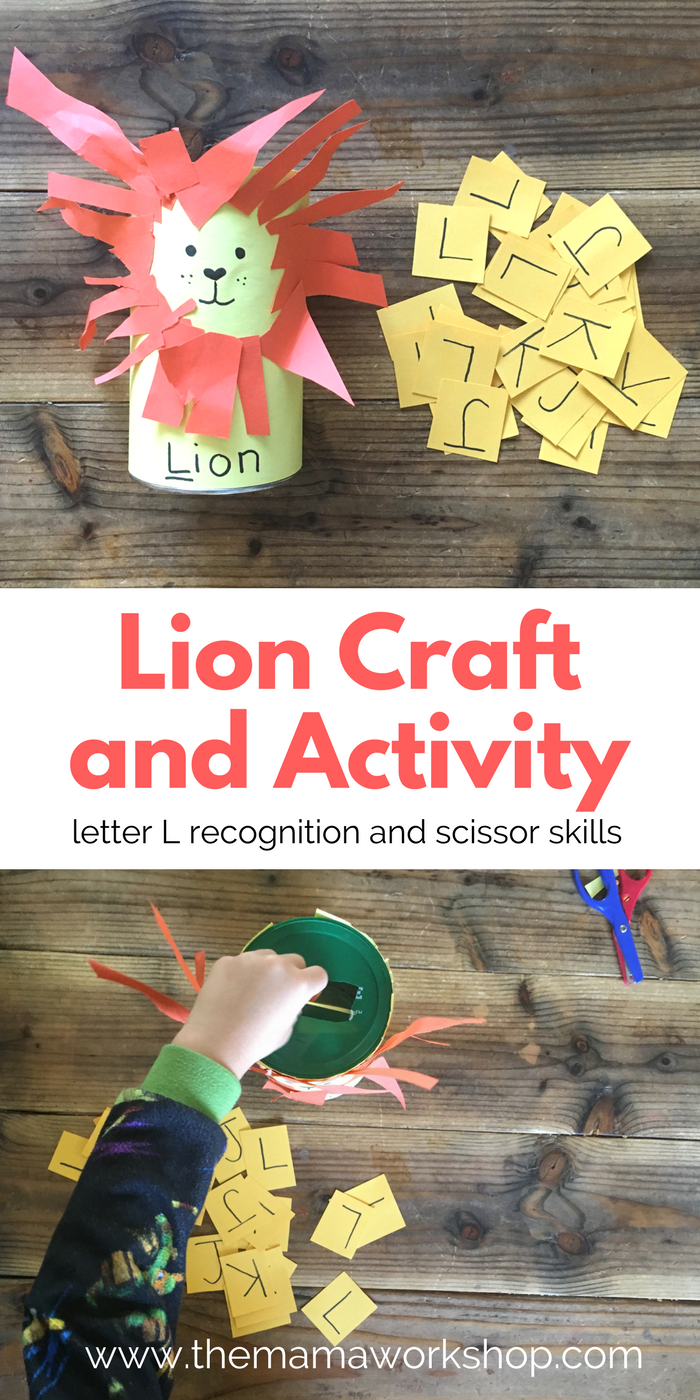 Make this L is for Lion Craft and Activity for your preschool to practice scissor skills and to recognize the letter L.