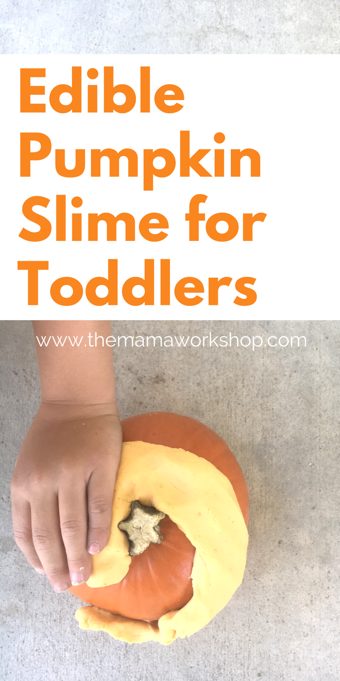 Make this 4-Ingredient, Edible Pumpkin Slime with your toddlers. They will have so much fun playing with it! So simple. So fun!