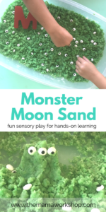 Make this Monster Moon Sand with your kiddos and have such a fun time! Dig your hands in and mold shapes and creatures. Such a fun sensory activity. And it smells like lime!