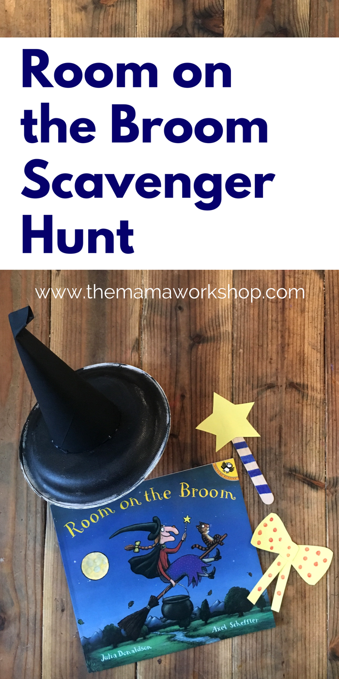 This Room on the Broom Scavenger Hunt is so fun! We had alot of fun making the crafts and hiding them around the house to find. It is perfect to go along with the book!