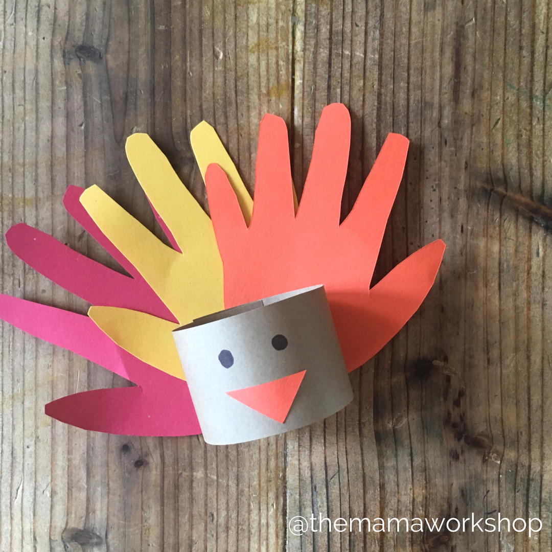 Hand Print Turkey Napkin Rings - without napkin