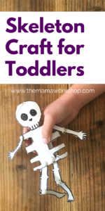 This Skeleton Craft for Toddlers was a hit with my kiddos! We had so much fun making it together and singing Dem Bones!