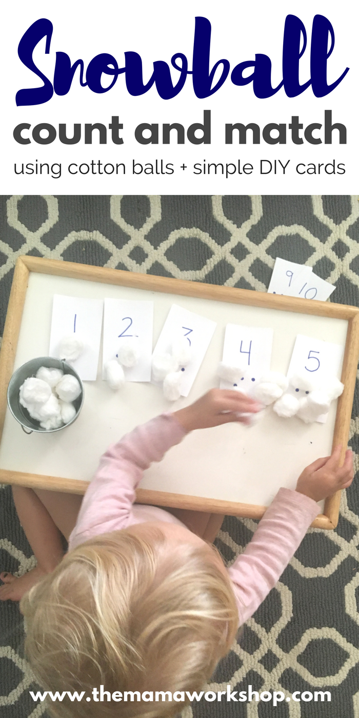 We have been learning S is for Snow and counting snowballs. It is so fun especially when the setup is so simple! Try Snowball Counting too!
