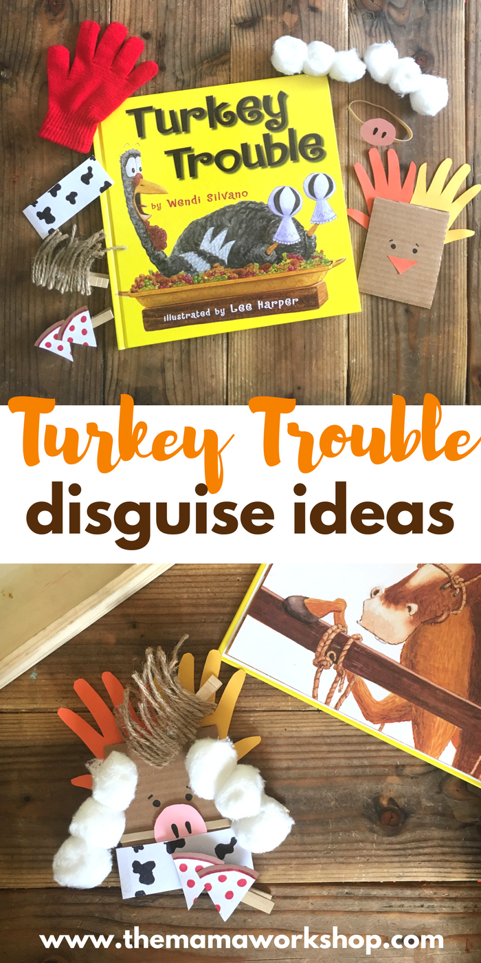 We have been reading Turkey Trouble and playing with our cardboard turkey and disguises! It is such a fun time! Make the turkey and disguises too!