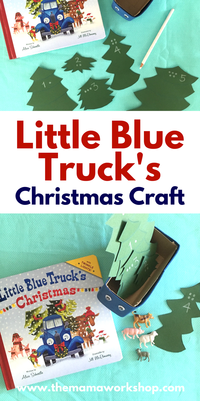 We made a Little Blue Truck's Christmas Craft to go along with the book. My kiddos have been having so much fun delivering trees. Make it too!