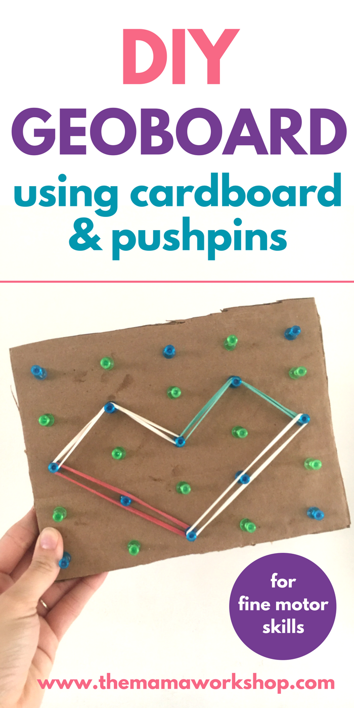I made a simple DIY geoboard using cardboard and pushpins for my son. He loves it! It kept him occupied for a long while. Whoo hoo! Make one too!