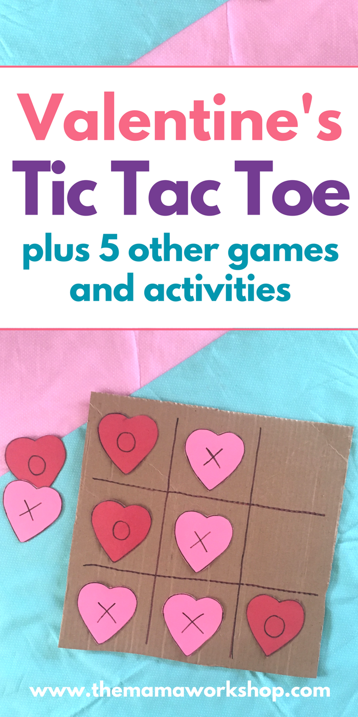 We have been playing Valentine's Day Games for Toddlers all day. Including Tic Tac Toe and 5 other games! It's so simple to make!
